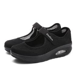 Dam Air Cushion Sneakers Sommar Mesh Tyg Sandaler Vit Black,40