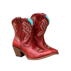 Women's Ankle Boots Pointed Toe Fashion Denim Retro High Heels Red,41