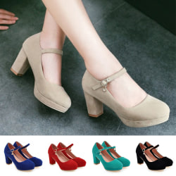 Women's Ankle Strap Fashion Casual Solid Color Shoes Pointed Toe Apricot,38