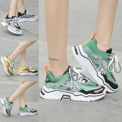 Women's  Athletic Shoes Outdoor Walking Lace Up Sports Trainers Green,36