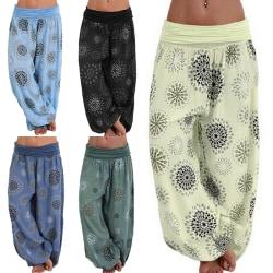 Ladies Printed Bohemian Comfortable Loose Yoga Pants Yellow,3XL