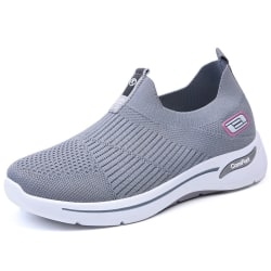 Women's Breathable Sock Sneakers Flat Soft Sole Casual Shoes Gray,41