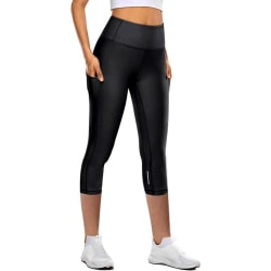 Women's Capri Yoga Pants High Waist Cropped Leggings Running black,XL