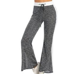 Women's Casual Elastic Wide Leg Pants Yoga Sports Jogging Pants Gray,S