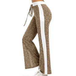 Women's Casual Elastic Wide Leg Pants Yoga Sports Jogging Pants Khaki,L