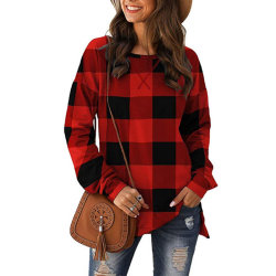 Women's casual long-sleeved loose round neck top T-shirt red,S