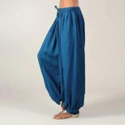 Women's Casual Loose Pants Solid Color Wide Leg Yoga Pants Navy blue,3XL