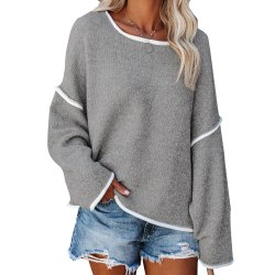 Women's casual loose solid color knitted sweater top pullover Gray,XL