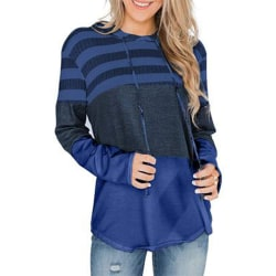 Women's Casual Loose Stitching Hoodie Top Pullover Sweater Navy blue,S
