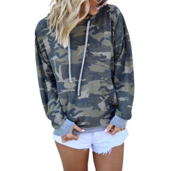Women's casual loose T-shirt top sleeve hooded sweatshirt Gray,L