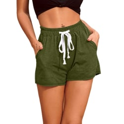 Women's Casual Shorts Elastic Waist Fitness Pockets Hot Pants Army Green,XL