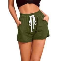 Women's Casual Shorts Elastic Waist Fitness Pockets Hot Pants Army Green,XL