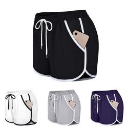 Women's casual yoga shorts fitness running tennis pants Purple,M
