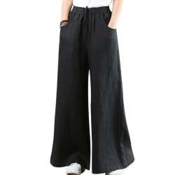 Women's Cotton hemp wide leg pants casual wear beach pants pants Black,XXL