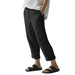 Women's cotton linen harem pants mid-waist loose casual pants Black,3XL