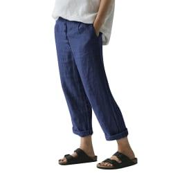 Women's cotton linen harem pants mid-waist loose casual pants Blue,3XL