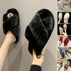 Women's Cross Plush Slippers Slides Mules Flat Shoes Winter Warm Brown Leopard,38-39