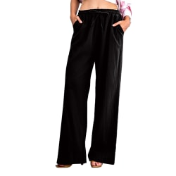 Women's Elastic Waist Casual Drawstring Wide Leg Sweatpants Black,S