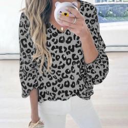 Women's Fashion Lantern Sleeve Leopard Print V-Neck Casual Top Gray,L