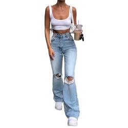 Women's Fashion Long Jeans Zipper Ripped Pants Flared Pants Blue,M