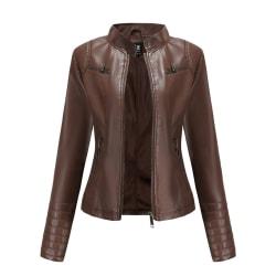 Women's Fashion PU Leather Jacket Biker Motorcycle Short Jacket Brown,M