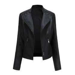 Women's Fashion PU Leather Jacket Top Spring Autumn Outerwear Black,XL