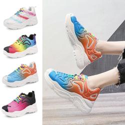 Women's Fashion Sneakers Multicolour Platform Waterproof Shoes Pink,38