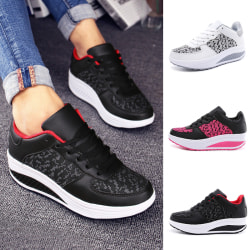Women's Fashion Sneakers Walking Athletic Outdoor Lace Up Shoes Black Rose Red,43