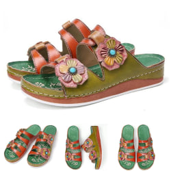 Women's Floral Thick-soled Sandals Open Toe Casual Shoes Green,36