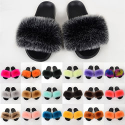 Women's Fluffy Fur Slippers Flat Heel Sandals Sliders Shoes Coffee,40-41