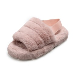 Women's Fluffy Sandals Plush Fur Slippers Flat Platform Sliders Pink,36
