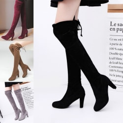 Women's High Heels Over Knee Boots Solid Color Round Toe Lace Up Brown,34