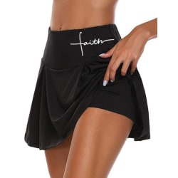 Women's High Waist Safety Shorts Yoga Fitness Tennis Skirt Black,S
