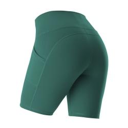 Women's high waist shorts yoga hot pants side pockets B green,XL