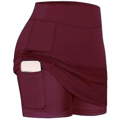 Women's high waist workout tennis yoga mini skirt Red,M