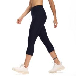 Women's High Waist Yoga Pants Printed Capri Pants Leggings Pants Navy Blue,L