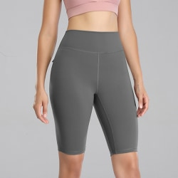 Women's High Waist Yoga Shorts Fitness Pocket Leggings Shorts gray,L