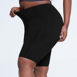 Women's High Waist Yoga Shorts Pocket Sports Workout Stretch Black,XXL