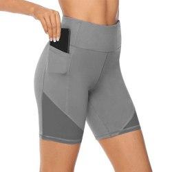 Women's High Waist Yoga Shorts Skinny Workout Side Pouch gray,3XL