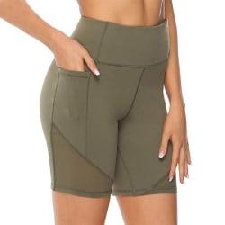 Women's High Waist Yoga Shorts Skinny Workout Side Pouch Khaki green,M