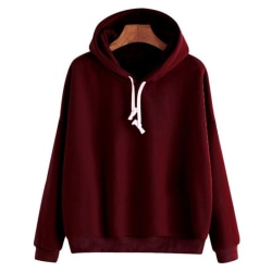 Women's Hoodie Casual Top Hooded Sweatshirt Long Sleeve Top Red wine,L