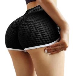 Women's Hot Shorts Solid Color Sports Fitness Slim Summer Black,L