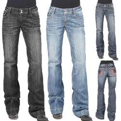Women's jeans stretch denim trousers low-rise flared pants Black,XXL