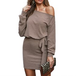 Women's Knitted One Shoulder Long Sleeve Mini Dress Casual Dress khaki,XL