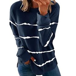 Women's knitted sweater casual long-sleeved pullover sweatshirt Dark blue,XXL