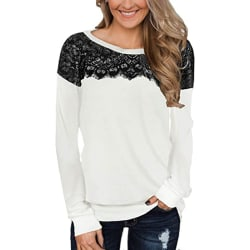Women's lace stitching top long sleeve casual loose pullover top White,L