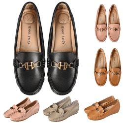 Women's Leather Loafers Casual Shoes Slip On Height Increase Black,39