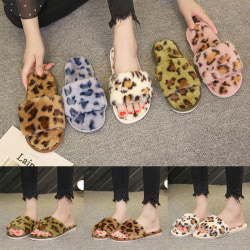 Women's Leopard Slippers Slides Flat Shoes Footwear Open Toe Blue,38-39