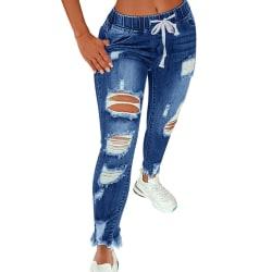 Women's Long Jeans Pocket Drawstring Ripped Pants Casual Pants Navy blue,XXL