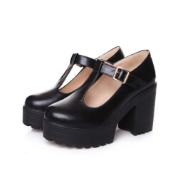 Women's Mary Jane School Shoes Platform High Heels Ankle Strap Black,40